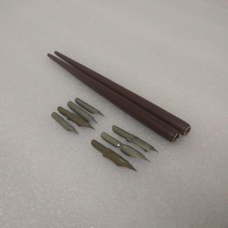 Antique Wooden Gothic Dip Pen Set with 2 pens 7 Nibs Handwriting Calligraphy Copperplate Pen Set Cartoon Pen Set