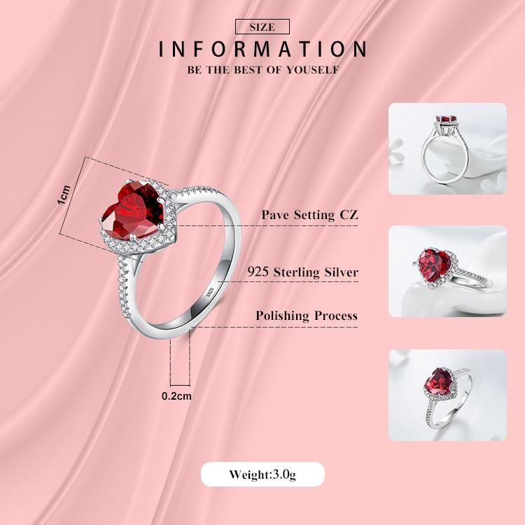 Modian 100% Prawdziwa 925 Sterling Silver Red Heart Pierścień 5A CZ - Modna biżuteria - Zdjęcie 2
