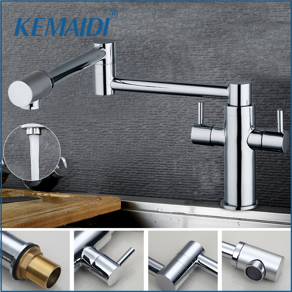 New Arrival Polished Chrome Kitchen Faucet with Two Spouts Handheld Shower Kitchen Mixer Water Taps Mixer