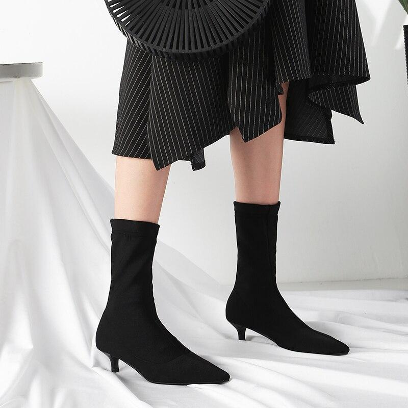 Punta Señoras Slip Elástico Black Otoño Venta Zapatos on Marca Delgado Negro Bajo Diseñador Tejido Tacón Botas Estrecha Corto Mujeres Elegantes Tobillo 47wtx4