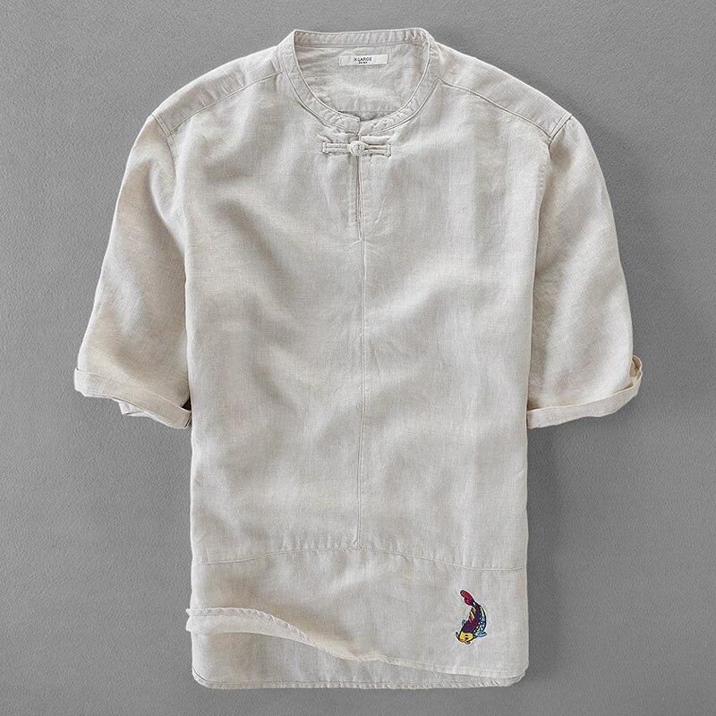 Unique summer shirt men pure linen men shirts 100% flax male shirt short sleeve embroidery shirts man brand clothing camisa