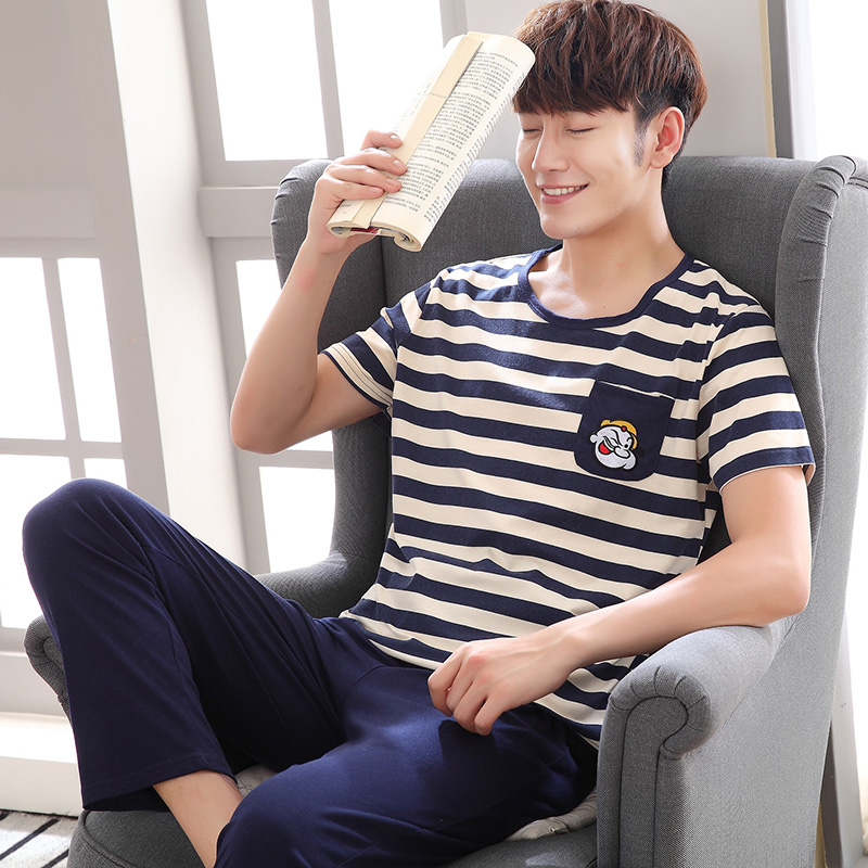 Men Pajamas Sets Summer Short Sleeve Striped Casual Tracksuit Sleepshirt + Pants 2pc Pyjamas Male Plus Size L-4XL Pijamas Hombre