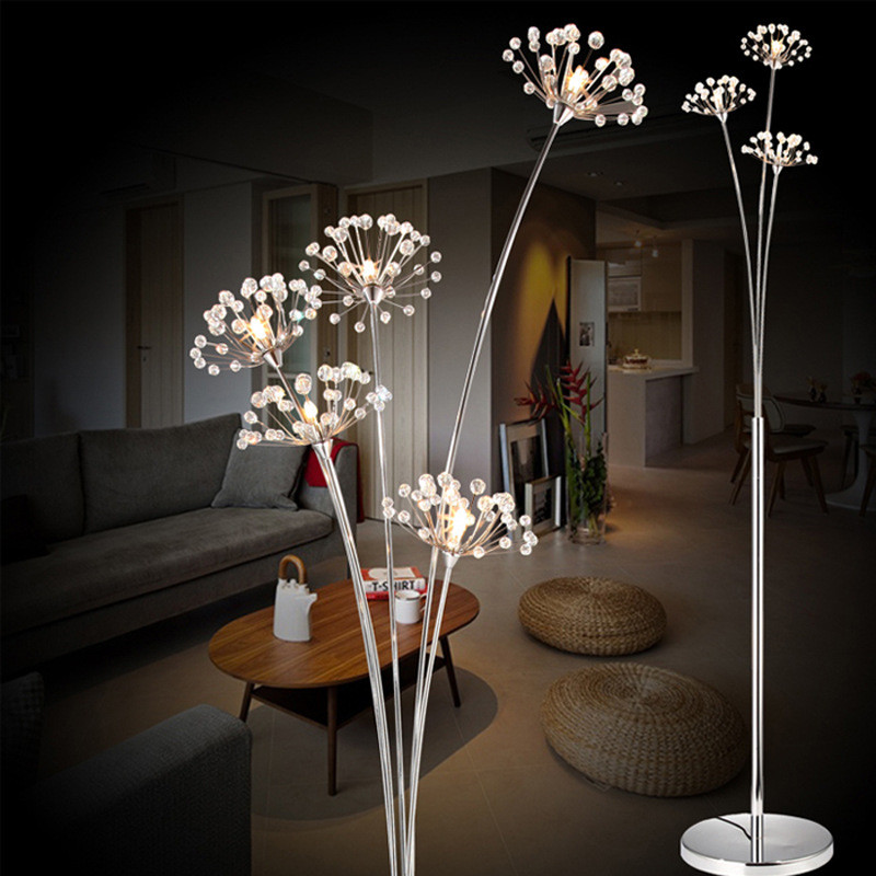 Modern Simple Living Room LED Floor Lamp Bedroom Crystal Lamp Wedding Dress Shop Lamp Study Dandelion Light Free Shipping french garden vertical floor lamp modern ceramic crystal lamp hotel room bedroom floor lamps dining lamp simple bedside lights