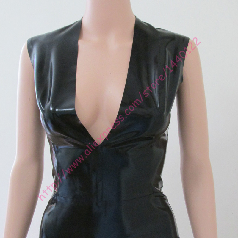 Summer dress Sexy Latex Dress for Women Slim Fetish Rubber Deep V Vestidos  Plus Size Hot Sale Customize Service-in Dresses from Women s Clothing on ... 89f4c794bc2e