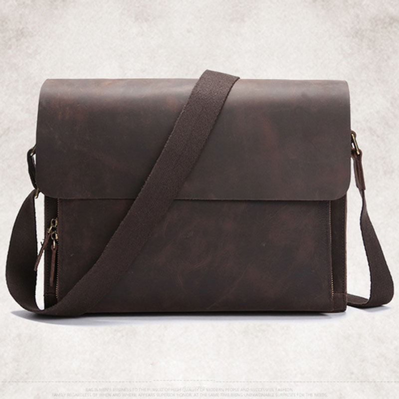 a6159da90 Man Cow Leather Messenger Bag Famous Brand New Fashion Male Crazy ...
