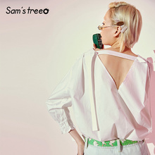 Samstree White Solid Minimalist Style Women Shirt 2019 Summer Bishop Sleeve Pure Sexy Backless Office Ladies Casual Blouses