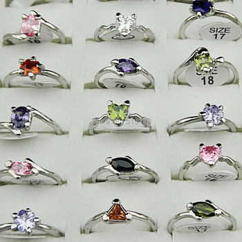 2014 New Style Wholesale 100pcs Top Real Pure Mix Shape Cubic Zirconia Fashion Women Rings for Party Wedding Free Shipping A668