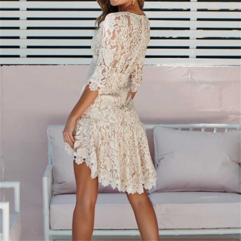 ca0be06d3954c ... Women Formal Half Sleeve Lace Dress Vintage Prom Evening Party Short  Mini Black/White Dresses ...
