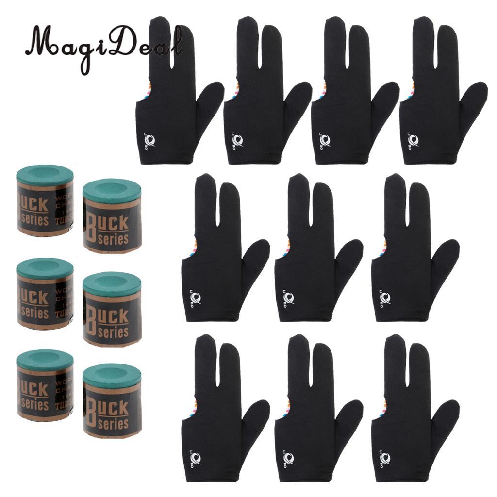 MagiDeal High Quality 6 Snooker Pool Cue Tip Table Billiard Chalk + 10pcs 3 Finger Billiards Glove
