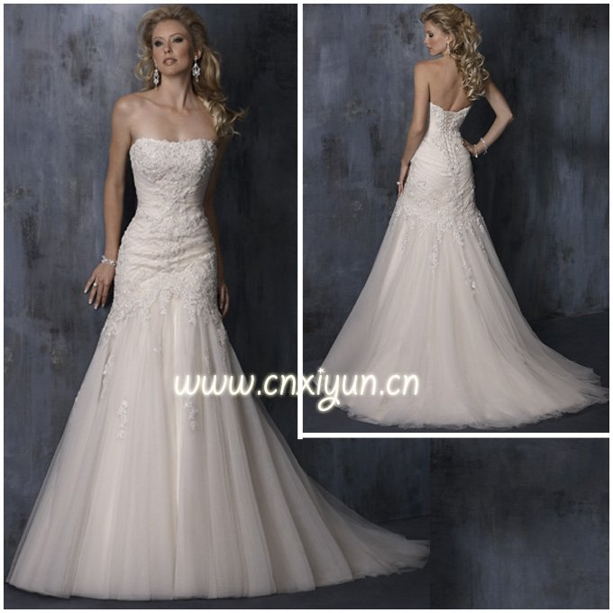 Free shipping mermaid lace appliqued fashion hot sell for Sell your wedding dress for free