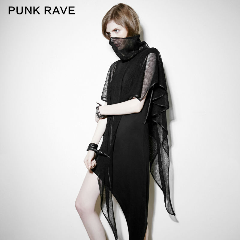 Punk Rave Fashion Casual Vestito estivo 2 pezzi Nero Lace Asimmetrico Sexy Dress PQ102