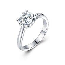 JIASHUNTAI Forever 1Ct Moissanites Diamond Rings Soild 14K White Gold Wedding Rings For Women Fine Jewelry