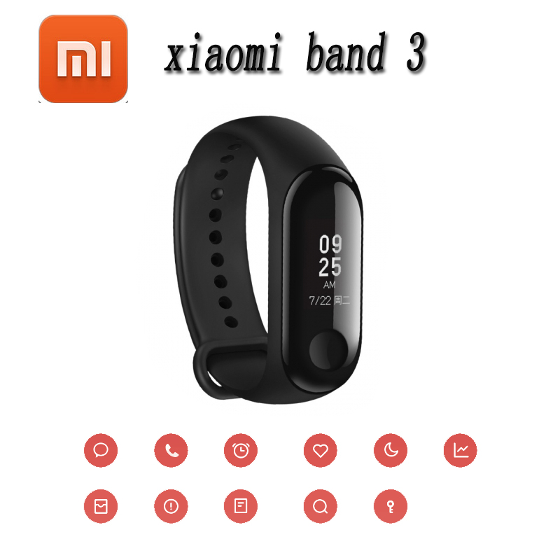 Original Xiaomi Mi Band 3 Band3 Smart Wristband Bracelet 0.78 OLED Touchscreen 5ATM Swim Reject-Call Pulse Heart Rate Step Time