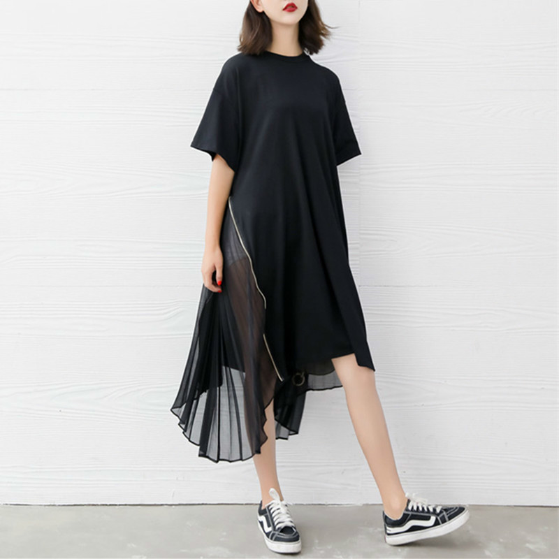 [Aiweier] Pleated Chiffon Shirt Dresses For Woman Irregular Solid Dress Big Size Dress Loose Short Sleeved Round Neck One Pieces