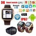 3G Android 4.4.2 Dual Core WIFI Android Relógio Inteligente 4 GB câmera Digital 5.0 GPS SIM Smartwatch Relógio de Smartphones Do Bluetooth FM 4.0