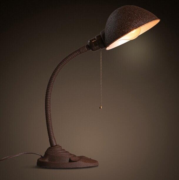 Американский промышленный Ретро офис исследование Спальня прикроватные Творческий гладить e27 светодиодный настольная лампа бесплатная до...