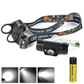 USB recargable 3 W Sensor IR Mini Linterna + Battery LED Faro Luz de la Antorcha Cabeza Linterna para Acampar