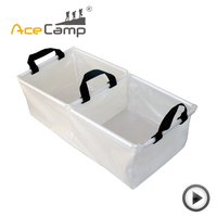 AceCamp Outdoor Camping Double Grid Transparent Folding Basin Buckets Pot Water Sink Water Container Washtub Fishing Bucket