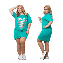 Women's Plus Size Heart Casual Straight Mini Dress