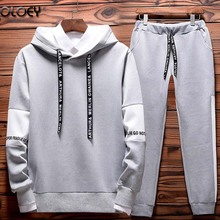 OLOEY 2 piece casual tracksuit men set hoodie sweatshirt track pants jogging mens sweat suits streetwear joggers male sport suit