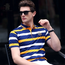 High Quality Men's Casual Polo Shirts Summer Fashion Striped Cotton Plus Size Short Sleeve Polo Shirts Men Pull Home C15D8205