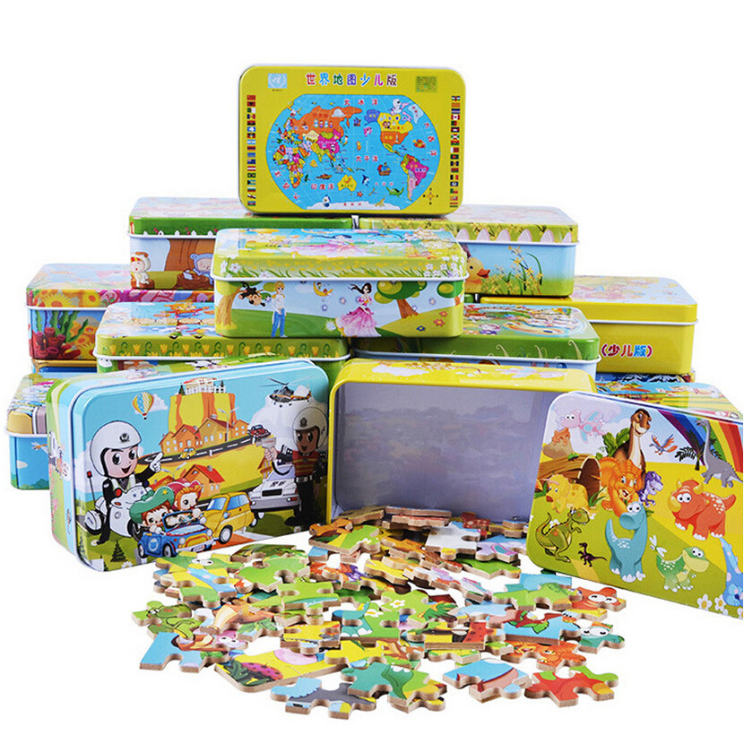 Free Shipping 60 pcs/set Iron Box Cartoon Wooden Puzzles for Children,Kids Toddler Early Educational Jigsaw Toys JM91101
