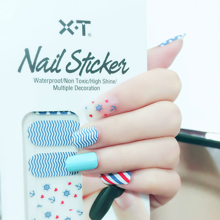 X.T XT Nail Polish Strips Navy Blue And Anchor Waterproof Non toxic ...