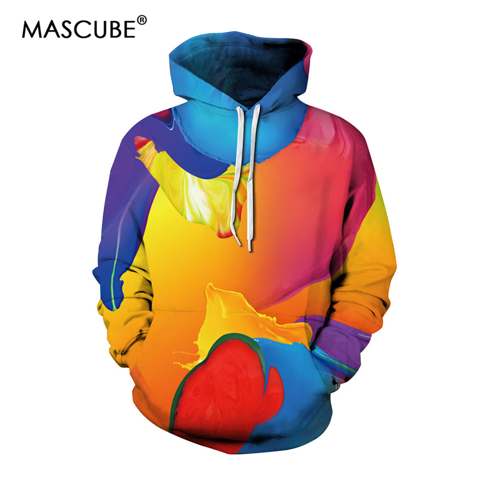 MASCUBE 2018 New Hoodies Sweatshirts Men 3D Color Paint Pullover Funny Rock Tracksuits Hooded Male Jacket Fashion Casual Outwear