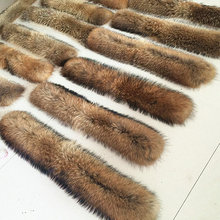 Winter 100% Real Natural Fur Collar & Womens Scarfs Fashion Coat Sweater Scarves Collar Luxury Raccoon Fur Neck Cap