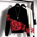 Luxury Brand Дизайнер Взлетно-Посадочной Полосы Свитер 2016 Осень Зима Мода 3D Цветы Вышивка Шелк Пуловеры и Свитера Топы