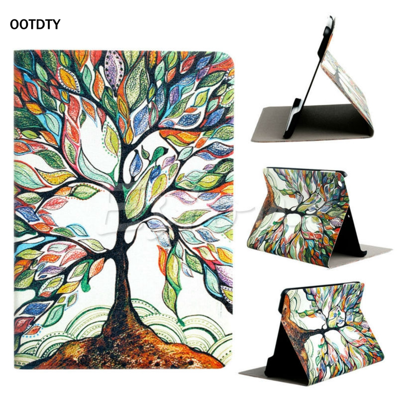 OOTDTY Hot Sale Tree Pattern Flip Stand PU Leather  Box Cover Holster For Apple iPad Mini 1 2 3 Top Quality top quality hot selling fashion design anchors pattern flip stand leather case cover for ipad mini 2 retina jul 12