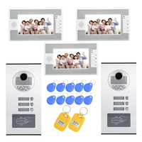 (1 SET) Intelligent Home 2 camera to 3 Monitor Video Door phone RFID Inductive Card Easy Unlock Family use HD 700 Lines intercom