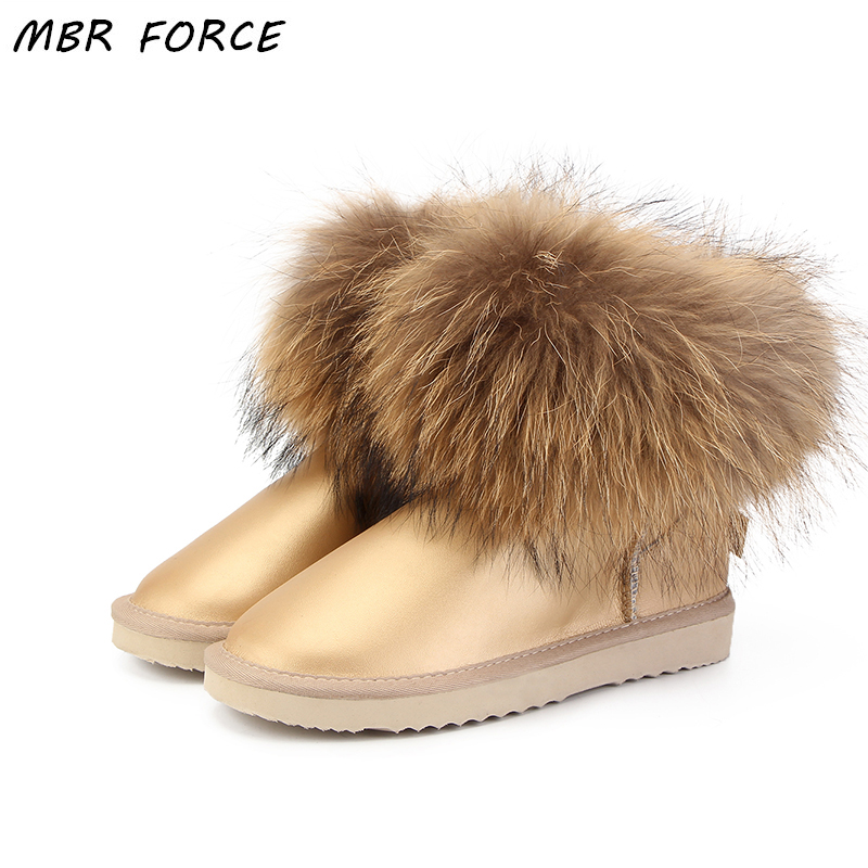 MBR FORCE Fashion Thick Natural Fox fur Snow Boots Women UG Boots Real Leather Waterproof Winter Warm Snow Boots Ankle Boots