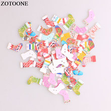 ZOTOONE Christmas Socks Wodden Buttons DIY Scrapbooking Accessories Sewing Wood For Clothing Craft Needlework Decoration
