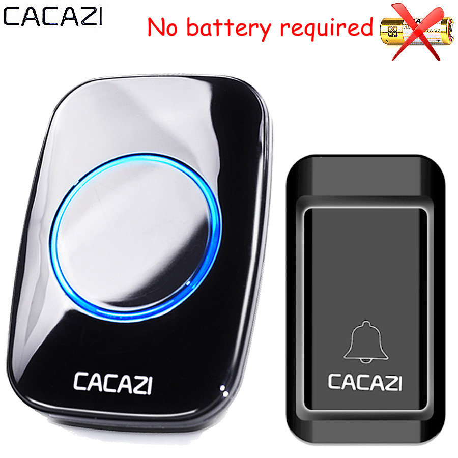CACAZI Waterproof Self-powered Wireless Doorbell CALL EU AU UK US Plug smart Door Bell ring Chime button 1 2 receiver no battery