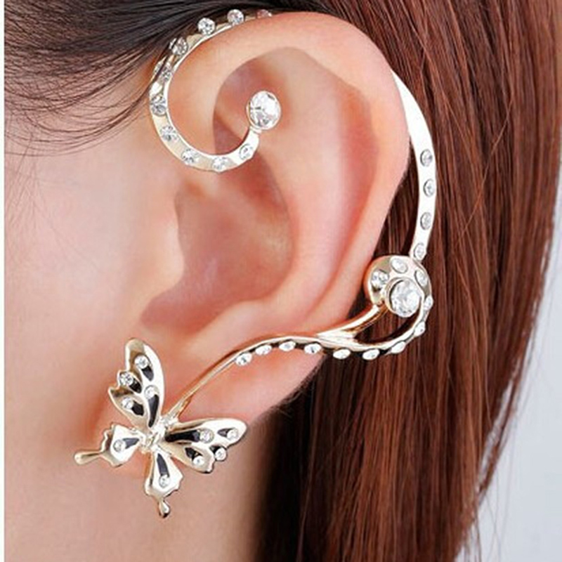 New Fashion Beauty Women Crystal Butterfly Cuff Ear Clip Wrap 1 Pair Personality Punk Clip Earrings Ladies Earrings Accessories