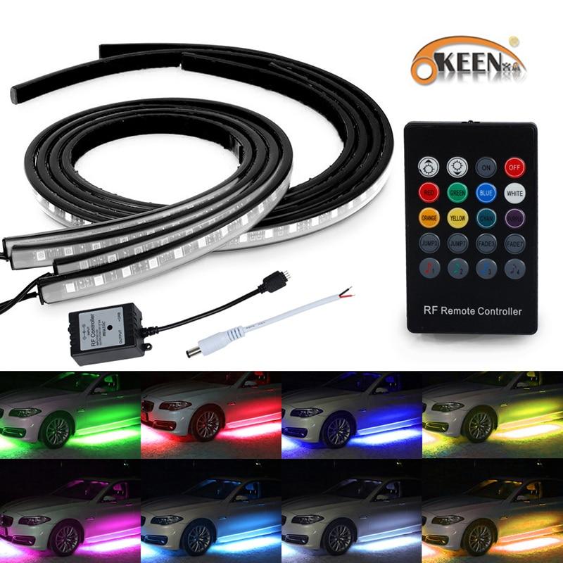 OKEEN Under Car Glow Underbody 5050 LED RGB Flash Strip Tube Light Sound Control Kit Wireless