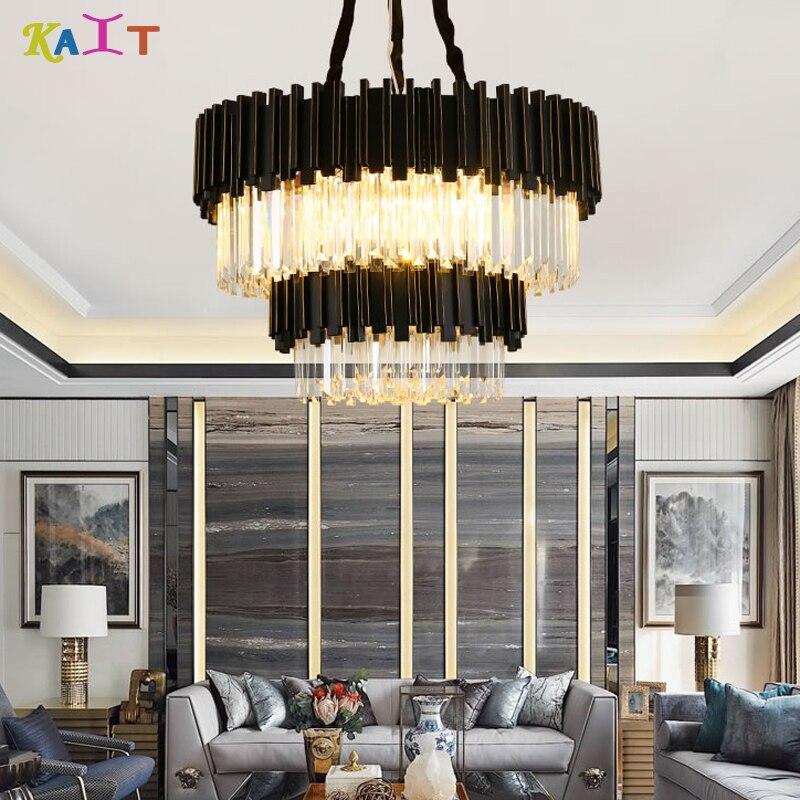 Lustre en cristal brossé rond noir de LED moderne lampes de salon lustre en LED