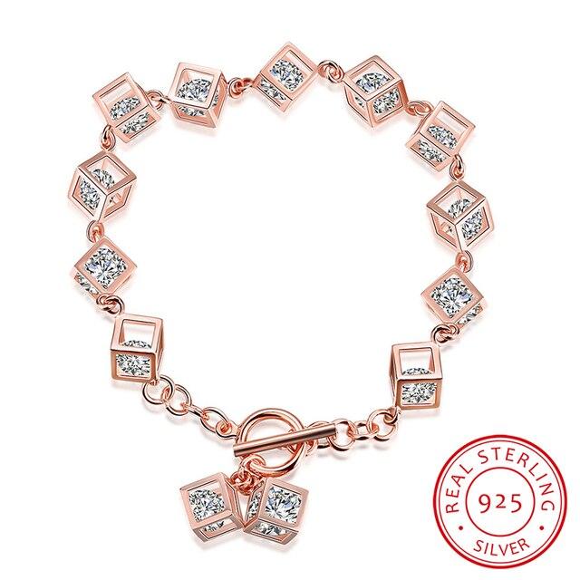 Robira Fashion Bracelets 925 Sterling Silver Geometry Box Bracelet Jewelry for Best Friends Wristbands Gift