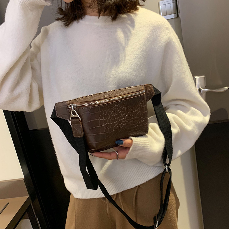 Waist Bag Women PU Leather Fanny Pack Crocodile Pattern Fashion Belt Bag Women Phone Pouch Casual Chest Bags Girls Backpack