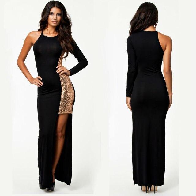 8e76c28c065b70 Een schouder lovertjes avondjurk lange jurk maxi dij slit lange mouwen  zwart goud elegante sexy party
