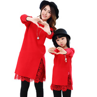 Mother Daughter Spring Autumn Family Outfit Women Girls Sweater Dresses Warm Family Matching Sweaters Lace Dresses H78