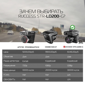 Image 3 - Ruccess araba dvrı Radar dedektörü GPS 3 in 1 Full HD 1296P 1080P Video kaydedici kamera çift lens Dash kamera Speedcam rus