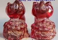 4 Китай Фэншуй животных искусственный янтарь стойку Foo Фу Собака Лев Статуя Пара