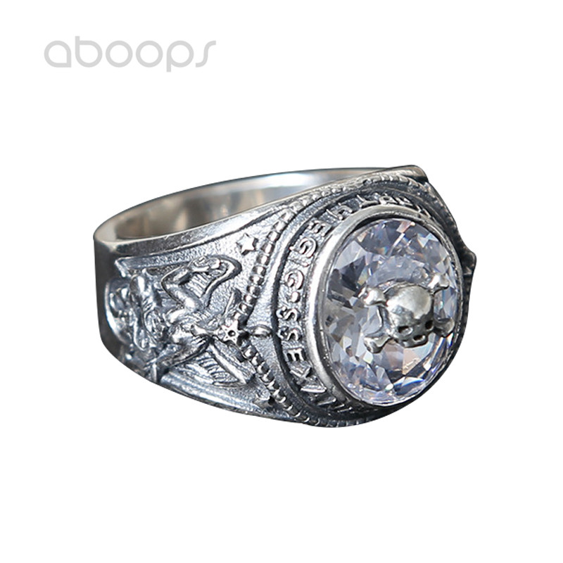 Punk Cool 925 Sterling Silver Skull Ring Jewelry with Cubic Zirconia for Men Size 6 7.5 8.5 9 10 10.5 Free Shipping цена