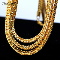 4mm 24k Yellow Gold Finish FRANCO CHAIN Box Link Curb Necklace 24 30 36 Inch