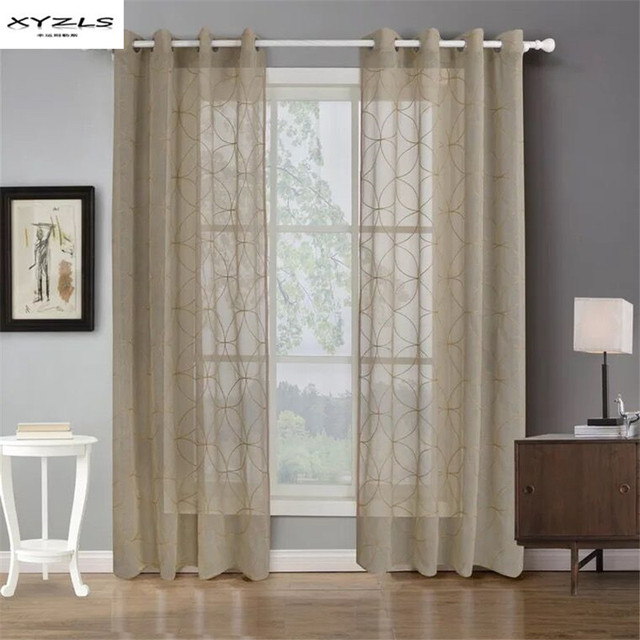 XYZLS Embroidered Tulle Curtains for Living Room Modern Geometric Sheer Curtains for Bedroom Kitchen Window Curtain Drapes 1PC