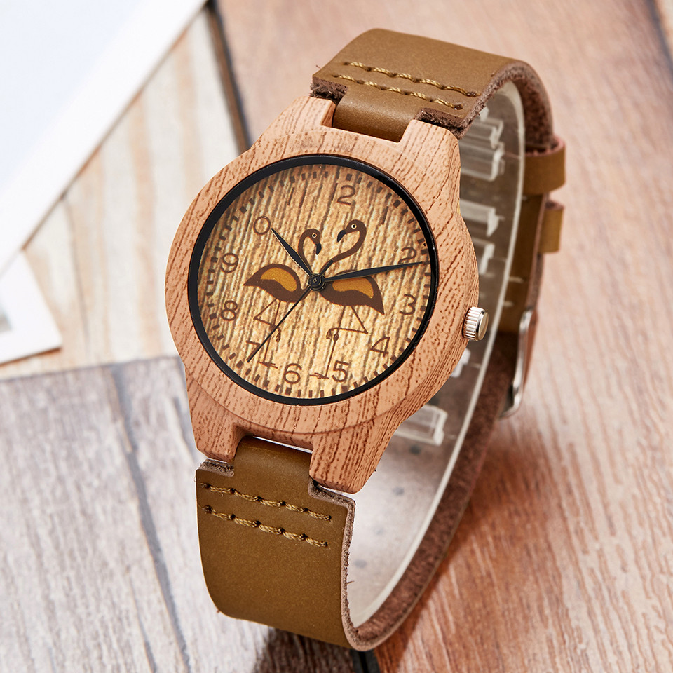 Fashion Imitation Wooden Watch Women Soft Leather Strap Fashion Clock Flamingo Design Analog Quartz Wristwatches Men Relogio