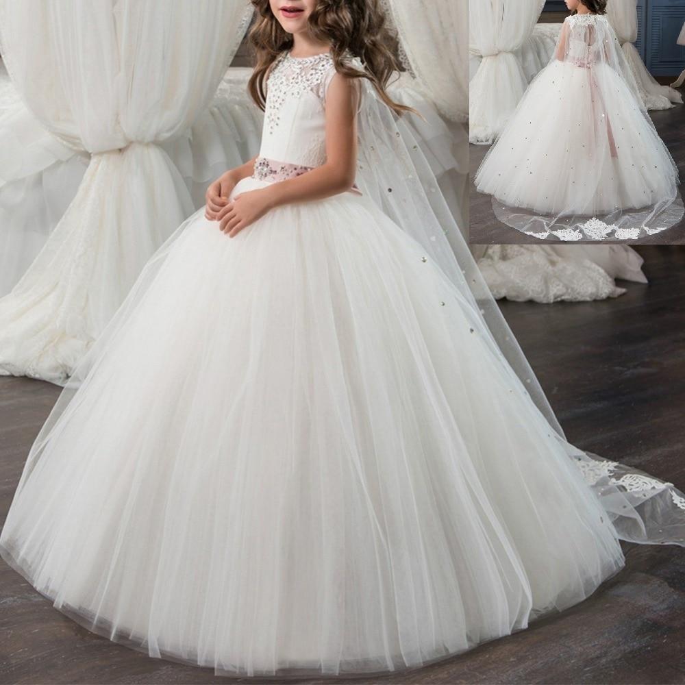 2019 neue Vintage Blume Mädchen Kleid Baby Kid Erste Kommunion Perle Dot Lange Prinzessin Kleider für Kind Hochzeit Geburtstag Party 2-13Y