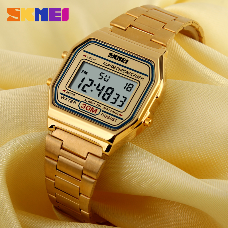 SKMEI Men LED Digital Sports Watches Men's Women Relogio Masculino Stainless Steel Military Waterproof Wristwatches 1123